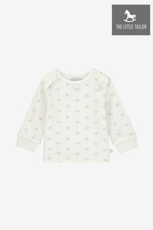 The Little Tailor White All Over Print Rocking Horse Jersey Top