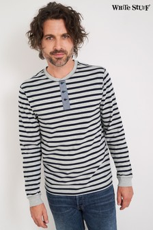 White Stuff Grey Fentiman Stripe Henley T-Shirt