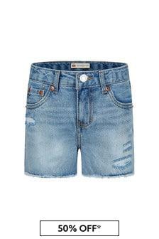 Levis Kidswear Girls Blue Cotton Shorts