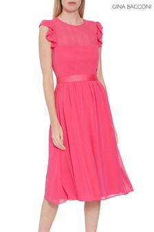 Gina Bacconi Fuchsia Pink Pomona Fit And Flare Dress
