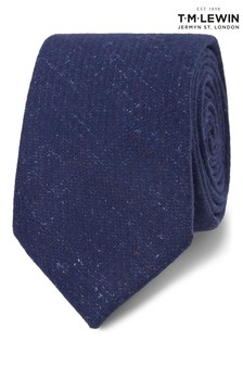 T.M. Lewin Barbers Royal Blue Flecked Wool And Silk Slim Tie