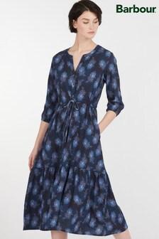 Barbour® Heritage Navy Peacock Print Pippa Midi Dress