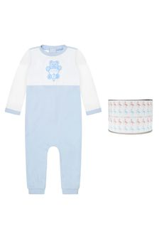 Guess Baby Boys Blue Cotton Romper
