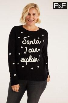 F&F Black Santa I Can Explain Jumper