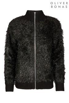 Oliver Bonas Black Tinsel Yarn Zip Up Jacket