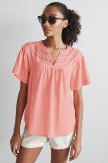 Lace Insert Textured T-Shirt