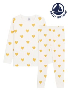 Petit Bateau White/Yellow Heart Pyjamas