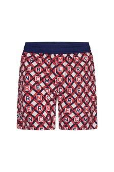 Moncler Enfant Boys Red/Blue Logo Swim Shorts