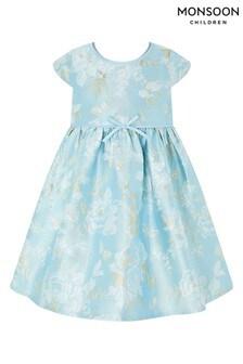 Monsoon Baby Blue Aries Jacquard Dress