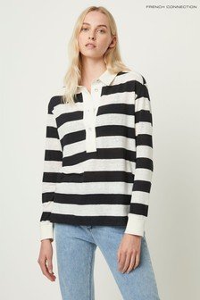 French Connection Black Val Linen Jersey Popover Shirt