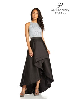 Adrianna Papell Black Mikado Highlow Skirt