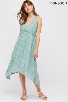 Monsoon Blue Dottie Sequin Hanky Hem Dress