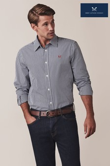 Crew Clothing Blue Long Sleeve Classic Micro Gingham Shirt