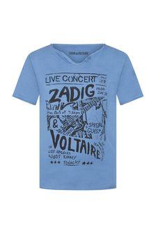Zadig & Voltaire Boys Blue Cotton T-Shirt