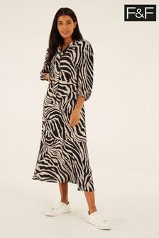 F&F Brown Zebra Print Midi Dress
