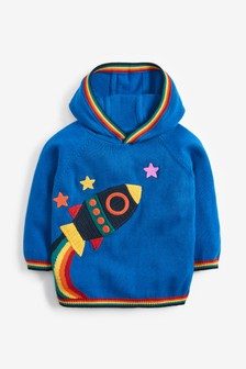 Rainbow Rocket Knitted Hoody (3mths-7yrs)