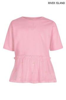 River Island Pink Peplum Mesh T-Shirt
