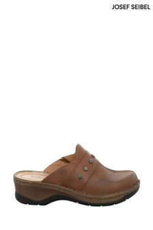 Josef Seibel Brown Catalonia Slip-On Leather Clogs