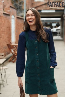 FatFace Green Sabrina Cord Pinafore Dress