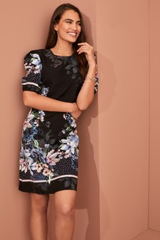 Border Print Puff Sleeve Dress