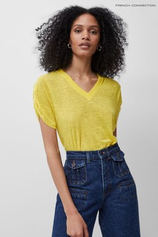 French Connection Yellow Tonie Jersey V-Neck T-Shirt