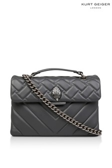 Kurt Geiger London Grey Leather Kensington Bag