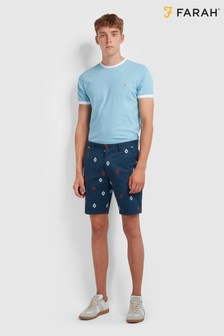 Farah All Over Diamond Print Hawk Cotton Twill Chino Shorts