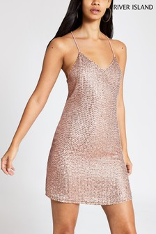 River Island Champagne Rebecca Slip Dress