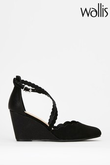 Wallis Coral/Black Scallop Strap Detail Wedges