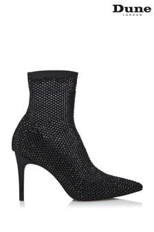 Dune London Billionaire Black Embellished Mesh Sock Court Shoes