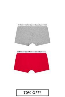 Calvin Klein Underwear Boys Red/Grey Cotton Boxers Two Pack
