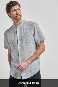 Linen Stripe Short Sleeve Grandad Collar Shirt