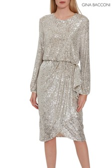 Gina Bacconi Silver Pieta Sequin Dress
