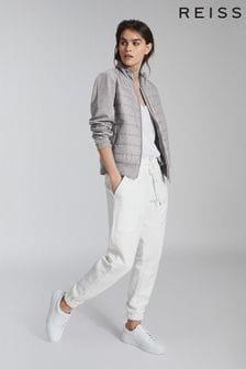 Reiss Grey Harper Hybrid Zip Through Quilted Jacket