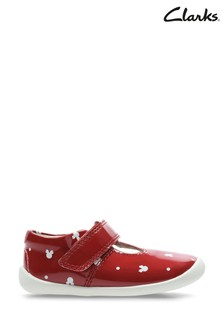 Clarks Red Combi Roamer Polka T Shoes