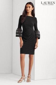 Lauren Ralph Lauren® Black Stretch Novelle Contrast Sleeve Dress