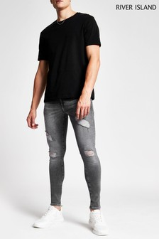 River Island Grey Austin Ripped Jeans