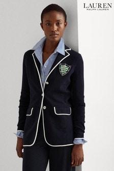Lauren Ralph Lauren® Navy Cotton Ayelee Blazer