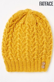 FatFace Yellow Plain Cable Beanie
