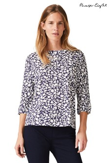 Phase Eight Blue Florentine Print Top