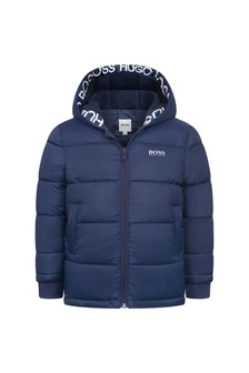 Boys Navy Hooded Padded Jacket