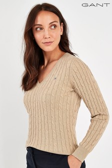 GANT Beige Stretch Cotton Cable V-Neck Sweater