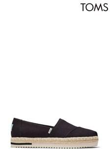 TOMS Black Canvas Platform Alpargata Shoes