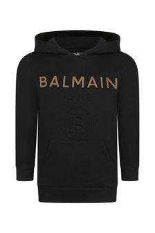 Balmain Boys Black Cotton Hoodies