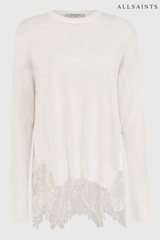 AllSaints White Aspyn Lace Back Jumper