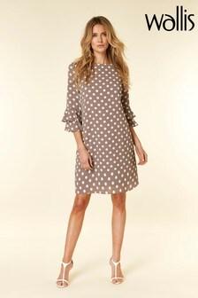 Wallis Nude Taupe Spot Double Flute Sleeve Dress