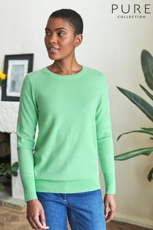Pure Collection Green Cashmere Crew Neck Sweater