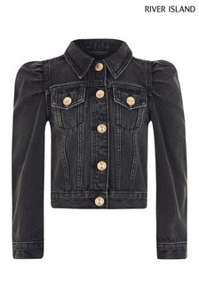 River Island Black Medium Puff Sleeve Denim Jacket