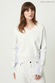 French Connection White Vanna Mozart Mix V-Neck Jumper