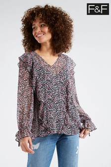 F&F Multi Black Ditsy Floral Ruffle Blouse